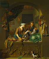 Willem van Mieris: A Woman and a Fish-pedlar in a Kitchen