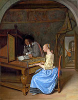 Ян Хавикзун Стен: A Young Woman playing a Harpsichord to a Young Man