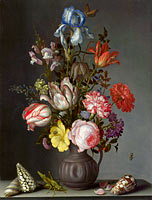 Balthasar van der Ast: Flowers in a Vase with Shells and Insects
