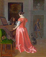 Jacob Ochtervelt: A Woman standing at a Harpsichord, a Man seated by her