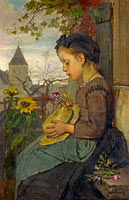 Jacob Maris: A Girl seated outside a House