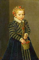 Неизвестный художник: A Little Girl with a Basket of Cherries
