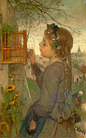 Якоб Марис: A Girl feeding a Bird in a Cage