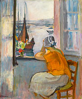Young Woman by the Window Viewing to the Isle of Yeu
