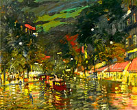 Konstantin Korovin: Boulevard by Night, Paris