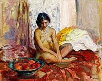 Анри Лебаск: Egyptian Woman with the Dish of Fruits