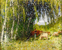 Pierre-Eugene Montezin: The Herd in Birch Grove near the Creuse