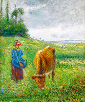 Камиль Писсарро: Shepherdess with a Cow, Cote des Grouettes, Pontoise