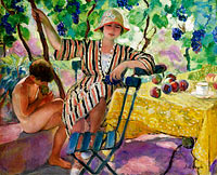 Анри Лебаск: The Garden at Summer (Pierre and Nono under the Grapes)