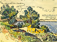 Поль Синьяк: Landscape of the Seashore with Trees