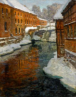 Frits Thaulow: The Akerselven River in the Snow