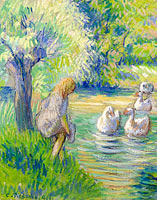 Camille Pissarro: The Shepperdess and the Geese, Eragny