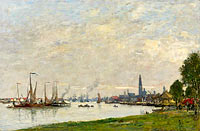 Eugène Louis Boudin: Anvers, the Port, View to the North Citadel