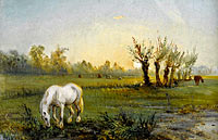 Camille Pissarro: White Horse at the Meadow