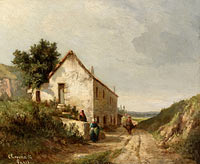 Камиль Писсарро: The House by the Road of Campagne wth Figures