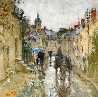 Pierre-Eugene Montezin: Village under the Rain