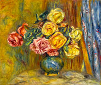 Roses with Blue Curtain
