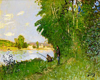 Pierre-Eugene Montezin: Landscape with Two Fishermen