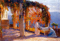 The Arbour in Autumn with Two Women and a Goat