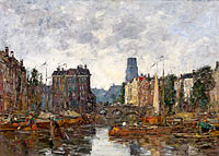 Eugène Louis Boudin: Rotterdam, the Bridge of Bourse