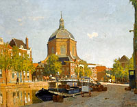 Figures on a Canal near the Marekerk, Leiden