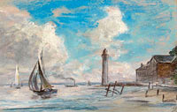 Honfleur. Seashore. Lighthouse and Vessel