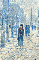 Frederick Childe Hassam: Kitty Walking in Snow