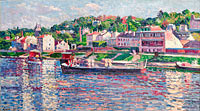 Maximilien Luce: Bas-Meudon, the Barge on the River