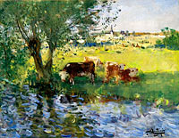 Pierre-Eugene Montezin: Cows in the Willow's Shade