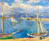 Шарль Камуан: White Sailing Boats at Port St.Tropez