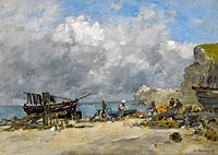 Etretat, Fishing Boats and Fishers at the Beach