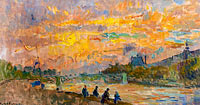 The Bridge of Saint-Peres at Paris, the Sunset