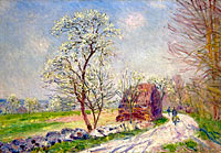 Альфред Сислей: Landscape with Blooming Trees