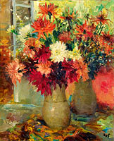 Марсель Диф: Vase of Dahlias