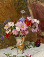 George Clausen: Still Life with Michaelmas Daisies and Cornflowers in a Jug