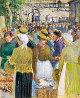 Camille Pissarro: Poultry Market at Gisors (2)