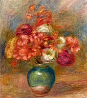 Bouquet of Flowers in Green Vase