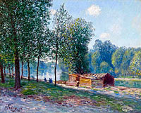 Alfred Sisley: Cabins at the Bank of Loing, Morning Effect