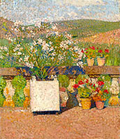 Flower Box with Rose-Bush and Pots with Geranium on the Terrace of Marquayrol in Summer