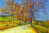 The Road with Almond Trees in Autumn