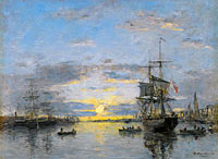 Eugène Louis Boudin: Havre, The Avant Port, Sun Down