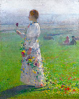 Young Woman Walking by the Field