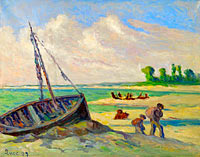 Maximilien Luce: The Outskirts of treport, the Barque on the Sand