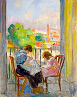 Madame Lebasque and Her Daughter Sewing near the Window