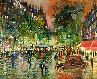 Konstantin Korovin: Parisian Boulevard by Night 02