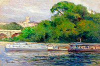 Maximilien Luce: The Boats in Front of Trees and Bridge