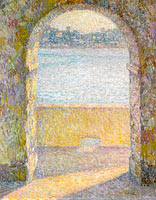 Henri Le Sidaner: The Sea Viewing through the Stone Arch,  Villefranche-sur-Mer