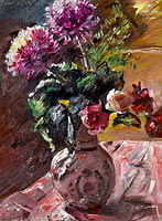 Lovis Corinth: Chrysanthemums and Roses in a Pitcher