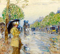 Frederick Childe Hassam: Rainy Day on the Avenue