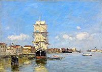 Eugène Louis Boudin: Venice, the Vessel near the Landing-Stage. Canal de la Giudecca
